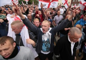EDL yobs shout and demonstrate.
